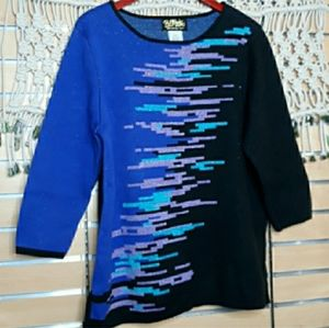 Bob Mackie blue black shimmer colorblock sweater